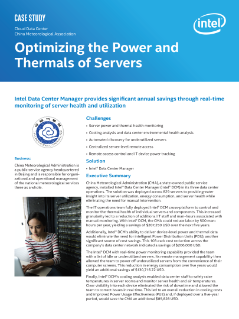 Cloud Data Center  China Meteorological Association  Optimizing the Power and  Thermals of Servers  Case Study