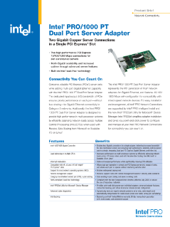 Intel® PRO/1000 PT Dual Port Server Adapter Brief