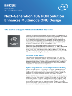 Intel® 10G PON Chipset Solution Enhances Multimode ONU Design