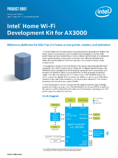 Intel® Home WiFi Development Kit for AX3000 Product Brief
