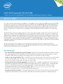 Intel® RAID Expander RES3FV288: Product Brief