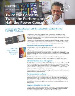 Intel® SSD 760p Series for Optimal PCIe* Bandwidth Product Brief