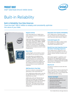 Intel® Solid State Drive E 5400s Series: Product Brief