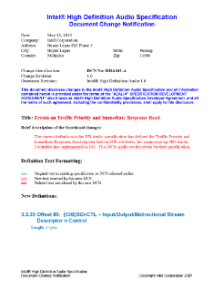 Intel® High Definition Audio (Intel® HD Audio) Specification Document Change Notification