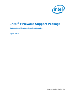 Intel® Firmware Support Package: External Architecture Spec