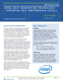 Evaluator Group Reviews Intel® Optane™ Storage