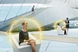 woman sits in stylized security bubble