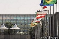 flags in front of building in brazil