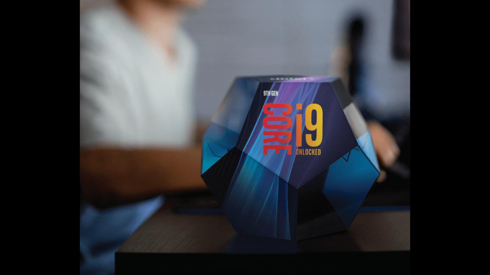 cubo da 9ª geração core i9 com imagem de fundo